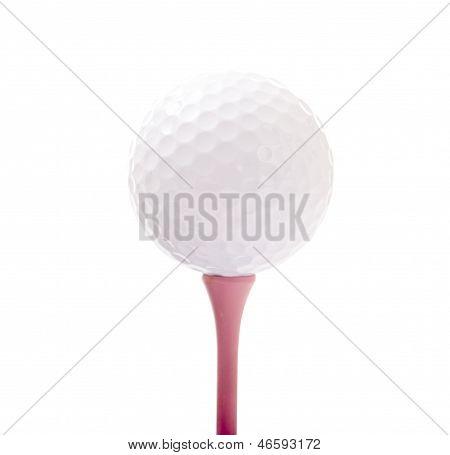 Golf Ball On Pink Tee