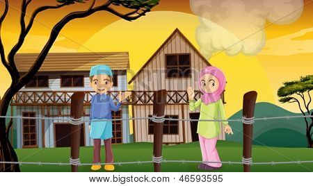 Illustration of a Muslim couple inside the barb wire fence