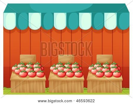 Illustration of a stand with tomatoes and empty signboards on a white background