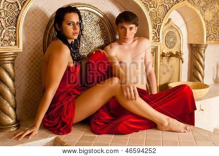 Woman And Young Boy In A Turkish Bath