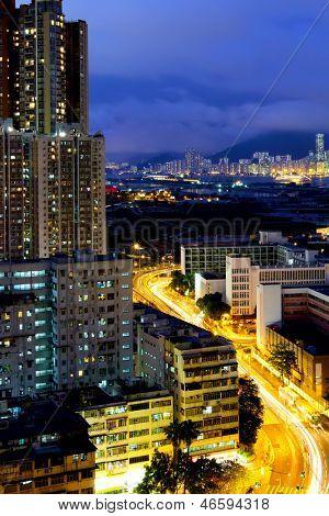 Kowloon city at night