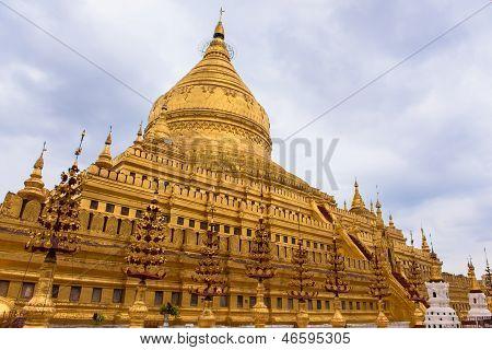 Shwezigon pagodas in Bagan Burma