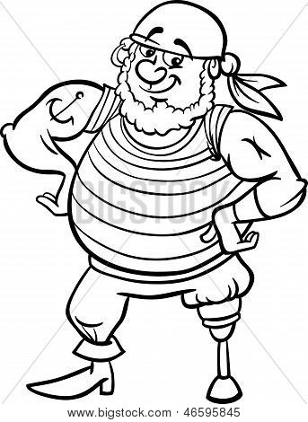 Pirate Cartoon Illustration For Coloring Book
