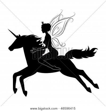 Beautiful fairy riding on magical unicorn