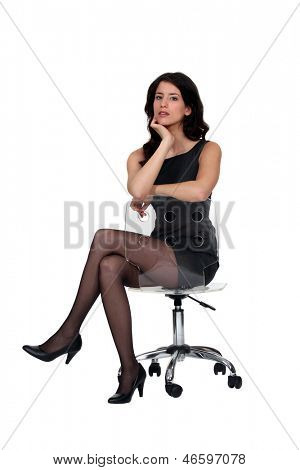 Woman sat on office chair
