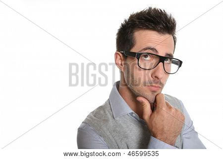 Thoughtful guy with eyeglasses