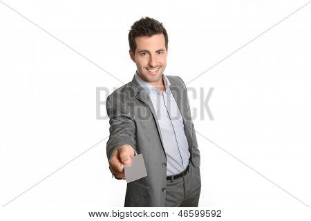 Businessman giving business card to client