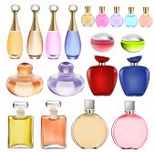 stock photo of perfume  - illustration of a set of perfume bottles - JPG