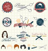 stock photo of barbershop  - Collection of retro style men - JPG