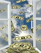 pic of  habits  - image of opened window to the heaven and flying away dollars - JPG