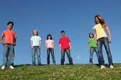 image of children group  - diverse group of kids youth or children outdoors at summer camp - JPG
