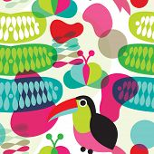 image of shiting  - Seamless colorful retro exotic brazil toucan bird abstract organic shape illustration background pattern in vector - JPG