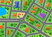 picture of building relief  - Map of suburb or little town for real estate industry design - JPG