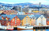 picture of tromso  - Aerial view of Tromso Cityscape at dusk Norway - JPG
