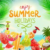 Summer holidays vector illustration set with cocktails, palms, sun, sky, sea, fruits and berries. Co