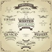 image of cow  - Illustration of a set of hand drawn western like sketched banners ribbons and far west design elements on vintage striped background - JPG
