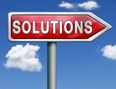 pic of solution problem  - find solutions indicating way to problem solving solution button solutions icon red road sign arrow with text and word concept - JPG