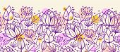 stock photo of purple rose  - Vector purple line art flowers golden horizontal seamless ornament pattern background with hand drawn line art floral elements - JPG