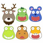 picture of alligator baby  - vector illustration of six cartoon animal head - JPG
