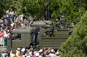 SEVASTOPOL, UKRAINE - MAY 9: Grenade launchers during military parade in honor of Victory Day in Sev