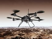 foto of drone  - Illustration of a spy drone scanning a mountainous region - JPG