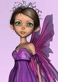 stock photo of faerie  - 3D digital render of a cute little fairy in purple dress on pink shining background - JPG