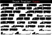stock photo of semi trailer  - Truck trailer types in black and white - JPG