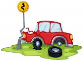 stock photo of kinetic  - Illustration of a red car bumping the signage at the road on a white background - JPG