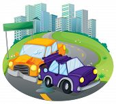 picture of kinetic  - Illustration of a car crash at the street near the empty green signage on a white background - JPG