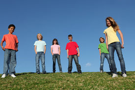 picture of children group  - diverse group of kids youth or children outdoors at summer camp - JPG