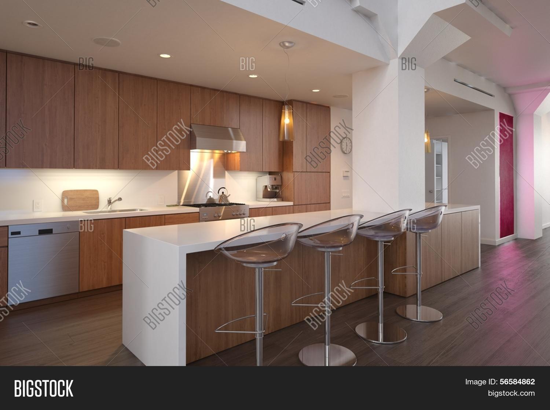 Imagen y foto render 3d del interior de la cocina bigstock - Barras de cocinas modernas ...