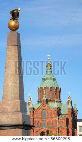 The Stone of the Empress and Uspenski Cathedral in Helsinki, Finland