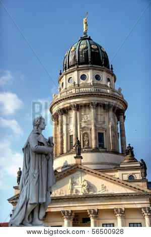 Exterior of the French Cathedral with statue of  Friedrich Schiller in Berlin, Germany