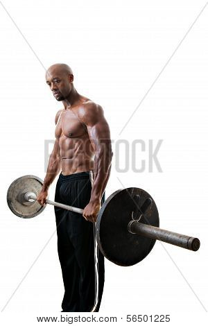 Muscle Man Holding Barbell Weights