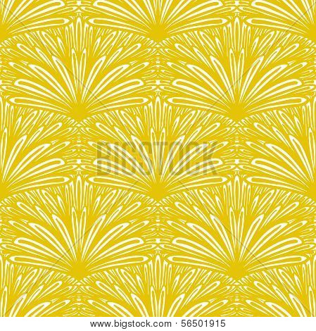 Art deco vector floral pattern in gold and white.