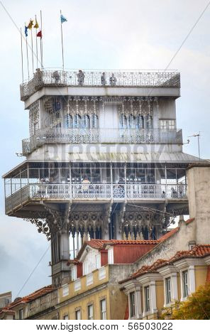 Panoramic view on the Santa Justa Lift in Lisbon, Portugal