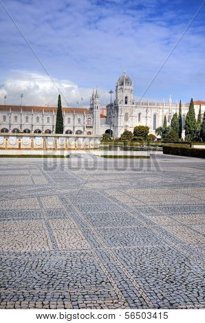 Panoramic view on the Hieronymites Monastery in Lisbon, Portugal