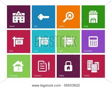 Real Estate icons on color background.