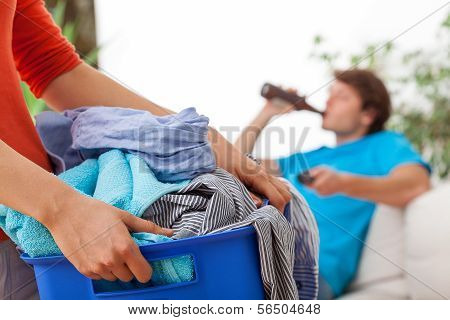 Woman Holding Laundry