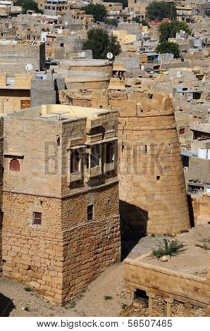 Tower Of Famous Jaisalmer Fortress Surrounded By Thar Desert In Rajasthan,india,asia