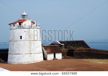 Lighthouse In Aguada Fort,located Near Sinquerim Beach,goa,portuguese India