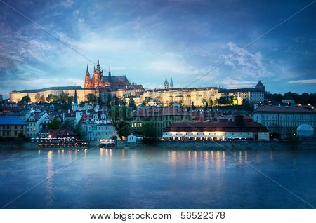 View of the Castle in Prague in the evening