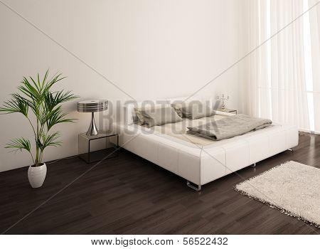 Modernen weißen Design Schlafzimmer mit Vorhang
