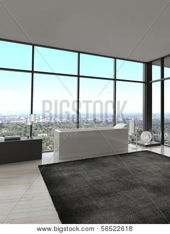 3d rendering of exclusive Luxury Bathroom Interior in a modern Penthouse