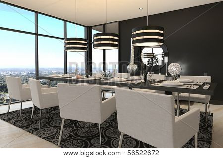 A 3d rendering of Modern Design Dining Room | Living Room Interior
