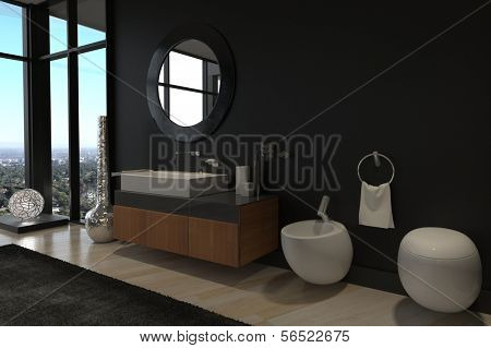 A 3d rendering of Luxury Bathroom Interior in a modern Penthouse