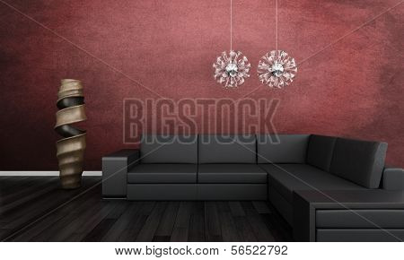 3d rendering of Modern black couch against red wall