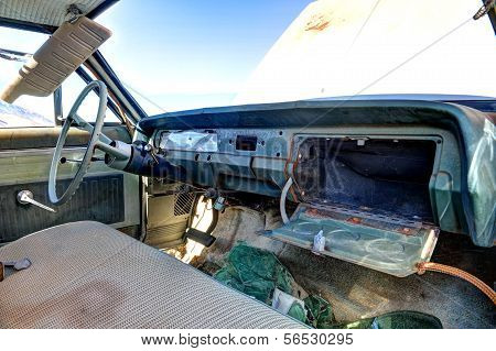 Old Abandoned Car Interior With Open Glove Box