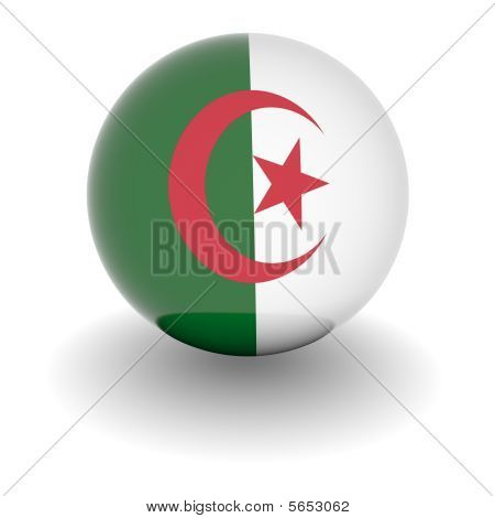 High Resolution Ball With Flag Of Algeria