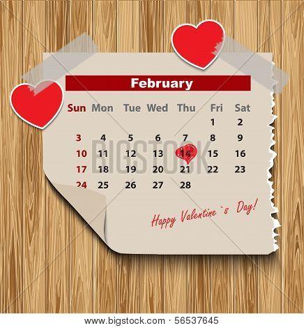Valentines day in calendar